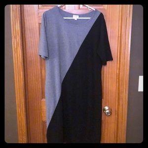 Lularoe Julia- Two-Toned Black & Grey Dress